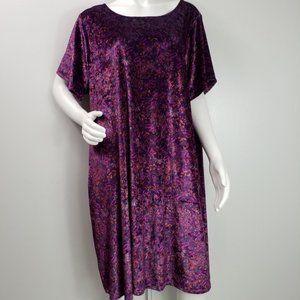 Lucky Brand Dress Size 3X Velour Floral Stretch